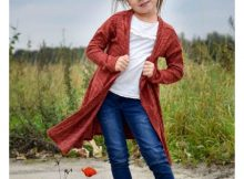 Apple girls long length cardigan sewing pattern