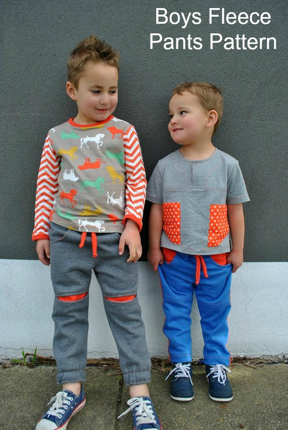 The Roscoe Pants are fun for your boys to wear and the Tutorial shows you how to make two versions – (1) The plain pant with contrast knee splices (2) The contrast pocket and side stripe option. The fit is super slim and modern with an elastic pull-on waist and a tie. There are deep front pockets and patch pockets on the back. The cuffs can be plain hemmed or with elastic inserted.