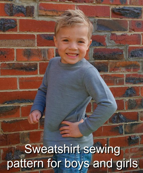 Childrens sweatshirt sewing pattern