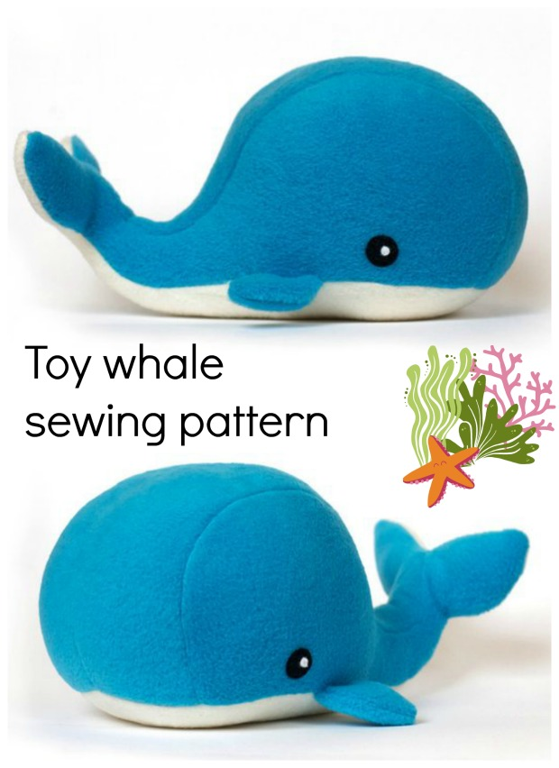 Plush whale toy sewing pattern