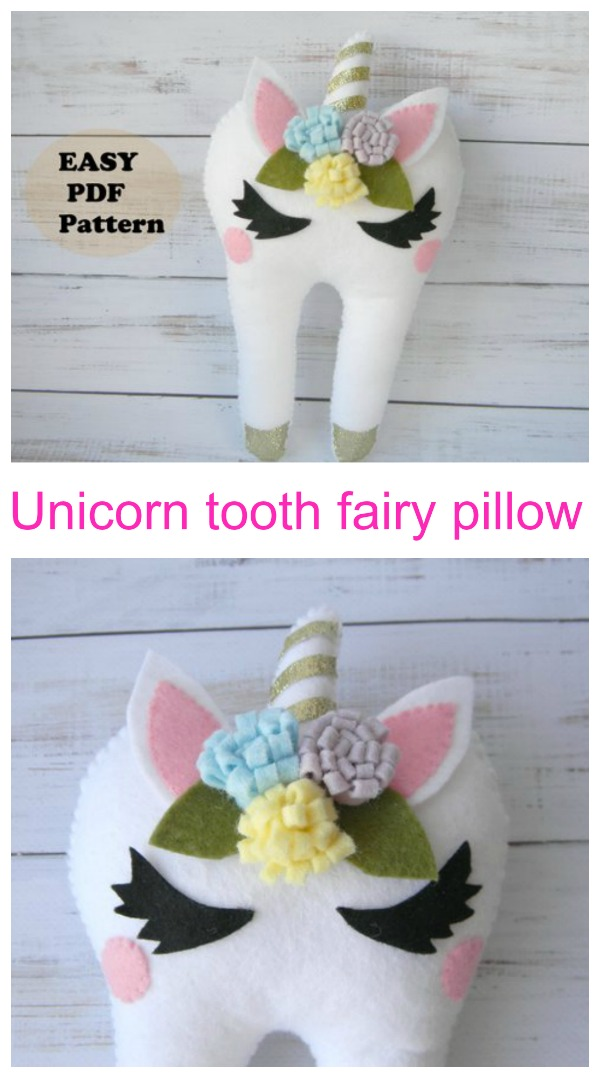 Unicorn tooth fairy pillow sewing pattern collage