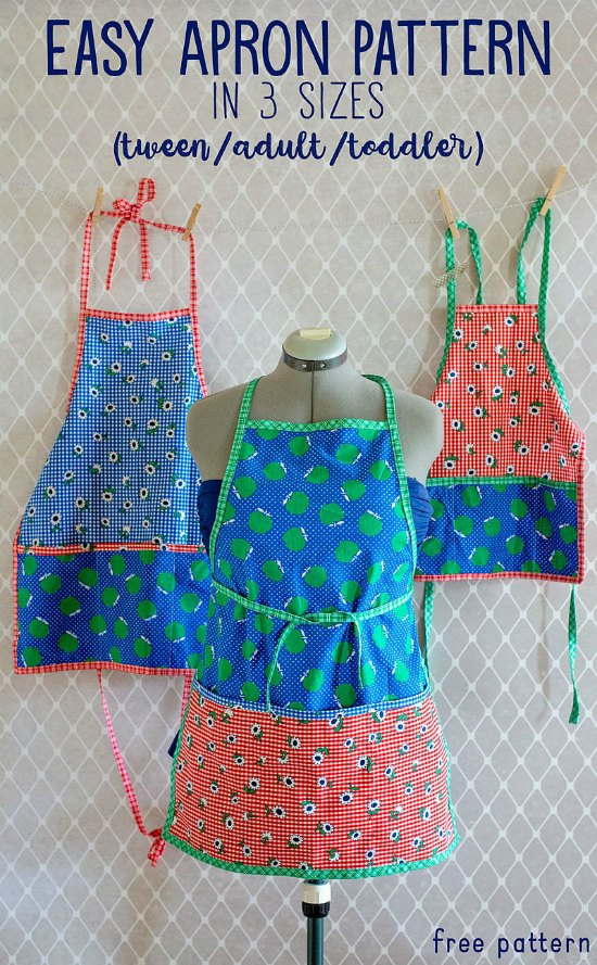 Here you get a FREE Apron sewing pattern in toddler, tween, and adult size. Can you imagine the fun you will have baking with your little ones in matching aprons? I'm sure the family will love it. These fun aprons are super easy to make, basically two little pieces of fabric wrapped in bias tape.