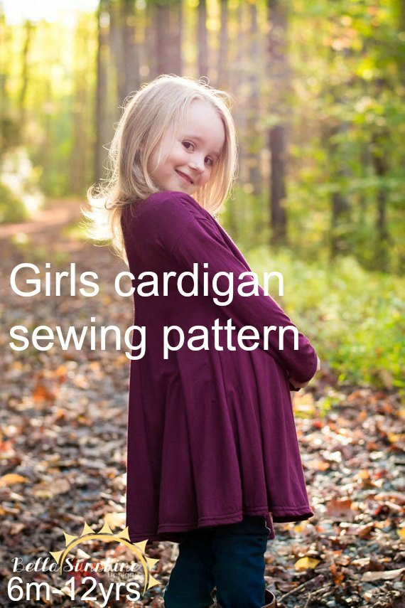 Girls cardigan sewing pattern. Available in two length, tunic length and knee length. Girls jacket, outerwear, cardigan sewing pattern. Uses knit fabrics and also available in womens size.