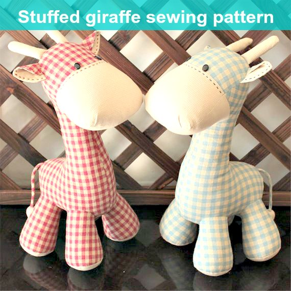 Stuffed toy giraffe plushie sewing pattern