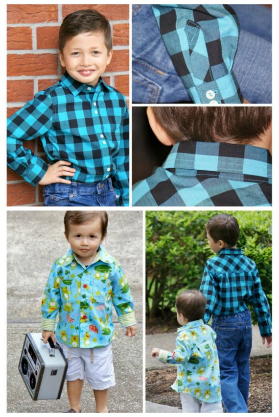 BOYS Classic Button Down Shirt sewing pattern (ages 1-14 years)