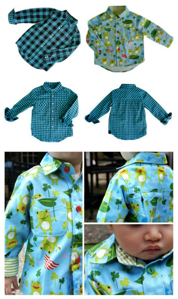 BOYS Classic Button Down Shirt sewing pattern (ages 1-14 years).
