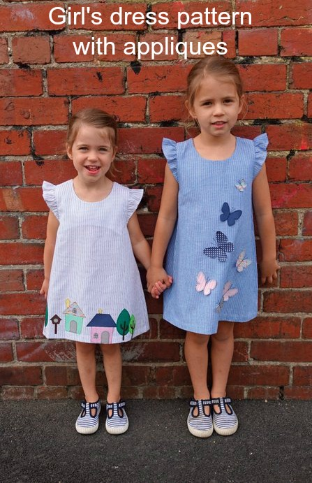 Here's a pattern for a very cute but simple A-line girl's dress which features frills at the shoulders and a loop and button back opening. What really makes this dress adorable are the wonderful appliques. The sewing pattern comes in sizes 1-7