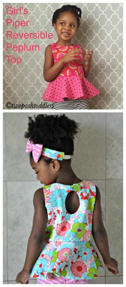Piper Reversible Girls Peplum Top sewing pattern