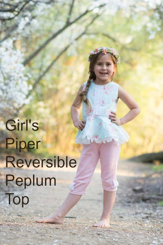 Here's a pattern for the Piper Reversible Girl's Peplum Top. It's a quick and easy project for a confident beginner that makes a very pretty top. The peplum flatters the waist while the keyhole in the back is a nice decorative detail that also allows the top to slip over the head easily. An under stitched bodice gives a crisp, clean look while the lined bodice hides all the seams that may bother sensitive skin.