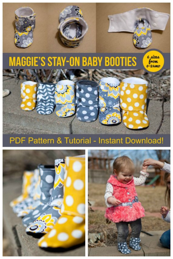 """This designer has designed an awesome boot for a baby that stays on. Your baby won't be able to just yank them off. The Maggie's Stay-On Baby Booties are super cute booties and the pattern comes in sizes from 0-24 months, with finished soles ranging from 3.5"""" to 6""""."""