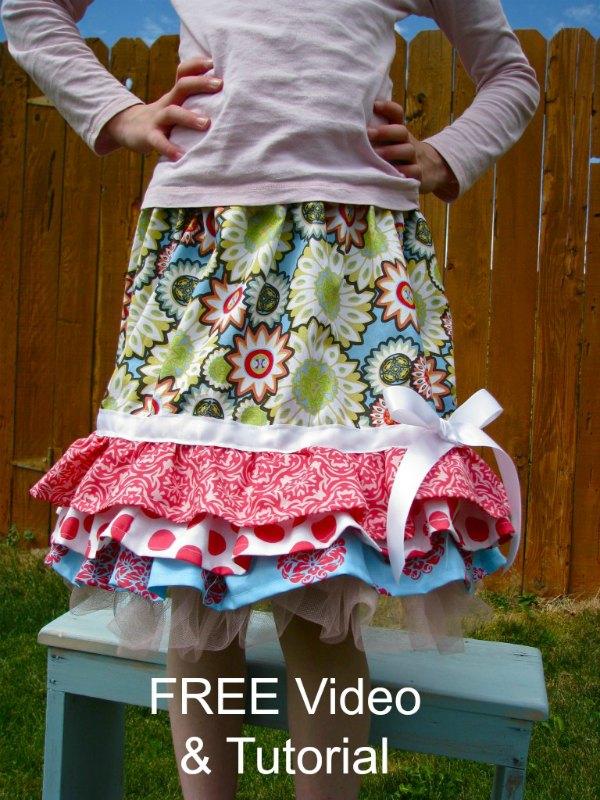 Ruffly Rhumba skirt FREE tutorial and video