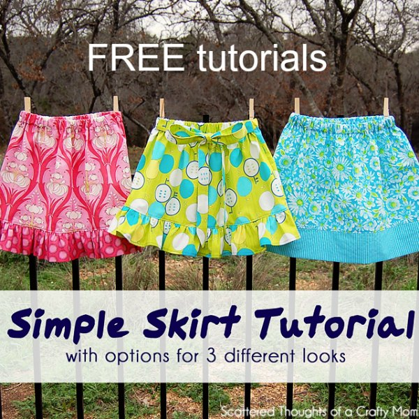 When a designer gives you a FREE tutorial it is always great, however, this generous designer has given you a FREE tutorial for 3 different looking simple skirts, which is amazing. You can choose to make one or all of the following simple skirts - a simple skirt with a contrasting band or with a ruffled bottom or with a fabric belt. All these skirts are a very simple style and are all easy to make.