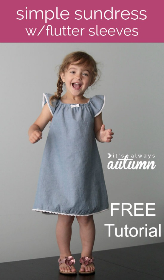Simple Girl's Sundress with Flutter Sleeves - FREE sewing tutorial