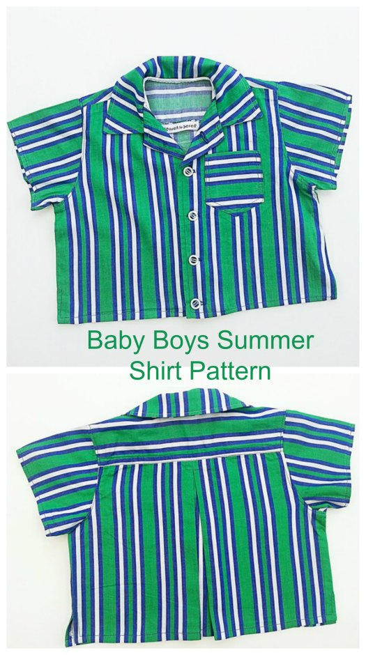 Here's your chance to make this cute button-up short sleeved designer shirt for baby boys with this excellent pattern. The shirt has lots of lovely features like Short sleeves, A neat bias binding feature on the inside collar, A pocket, Cute little side splits and a shoulder yoke with pleat detail.