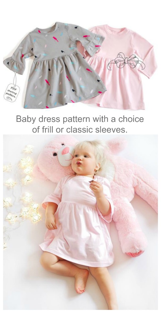 Cute knit baby dress sewing pattern (1-24mths)