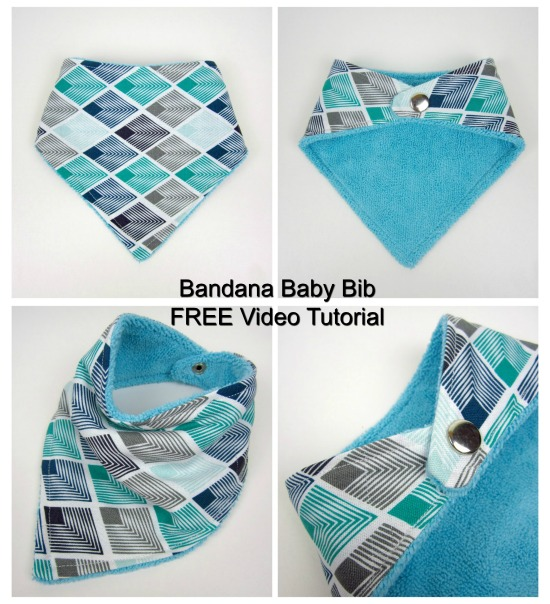 You can learn how to make this cute Bandana Baby Bib by watching the FREE video provided by the designer. These Bandana Style Baby Bibs are super useful and super cool looking. The bibs can be made in various sizes from 3 to 36 months.