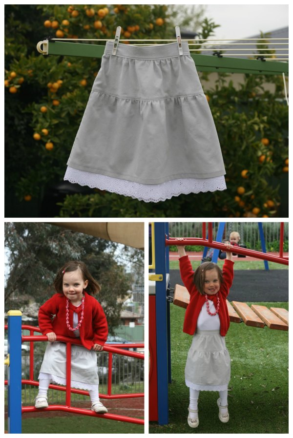 This designer has made a cute little maxi skirt for girls and she has provided the tutorial and pattern for FREE, naming it the Daffodil Skirt. The skirt is simple, without pockets or buttons, and will not take very long to make. It has been designed with two tiers, the bottom tier has been lined with lace peeking out from under the top tier.