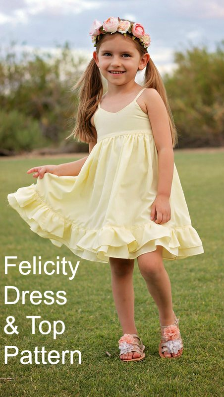 Well here's a really beautiful girl's dress that can be made into a top as well. It makes the perfect dress for warmer weather. The thin shoulder straps are dainty and allow your little one to soak up the sun's rays. The Felicity Dress pattern is ideal for a confident beginner sewer.