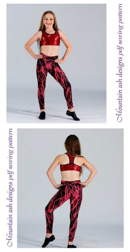 Don't these leggings look awesome? They look great for circus, gymnastics, dance or wearing every day. These Girls Athletic Leggings are easy to sew for a beginner sewer. This versatile pattern includes both full length and capri length leggings with 3 waistband styles, so you can create, high waisted leggings, mid rise leggings and leggings with a yoga waistband.