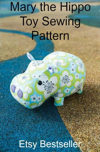 Mary The Hippo Plush Cuddly Toy sewing pattern