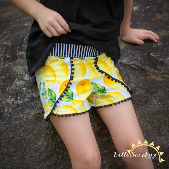 Tess Tulip Shorts sewing pattern for girls.