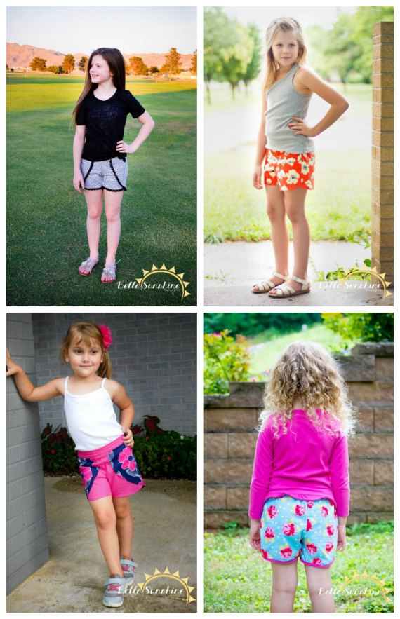 The Tess Tulip Shorts are recently one of this designers most requested patterns. They are the perfect shorts sewing pattern for girls in the spring and summer. Maybe it's the femininity of the petals or the fact that the trim options are endless, but whatever it is confident beginner sewers will end up with a beautiful pair of girls shorts.