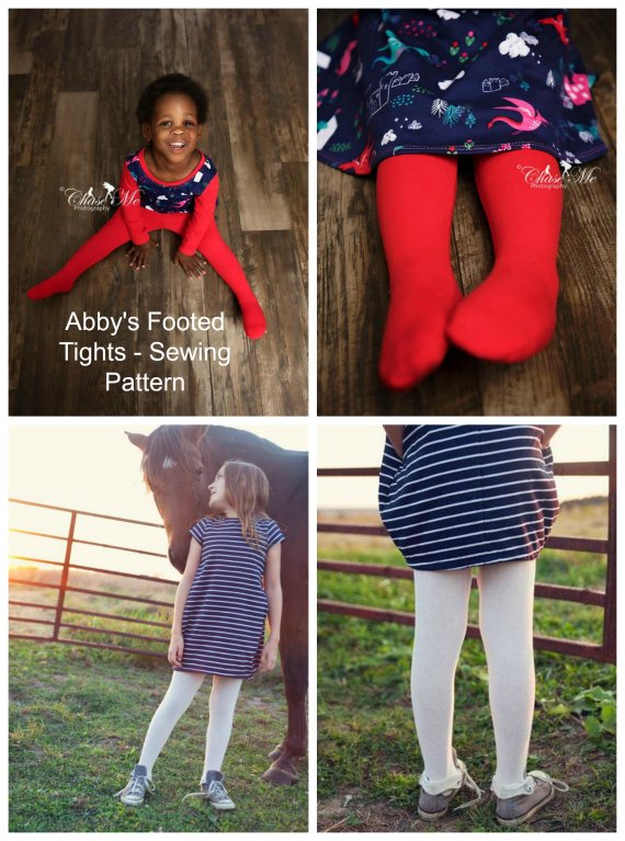 Footed Tights sewing pattern - baby, toddler, teen (0-14 years)
