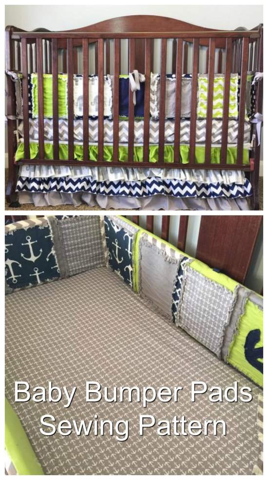 """Baby cribscan be made much softer if you make these """"Bumper pads"""" from this awesome sewing pattern. You will be able to custom make your own boy or girl baby bedding bumpers by using some of your favorite pieces of quilting cotton fabrics to add that special touch to babies nursery room."""