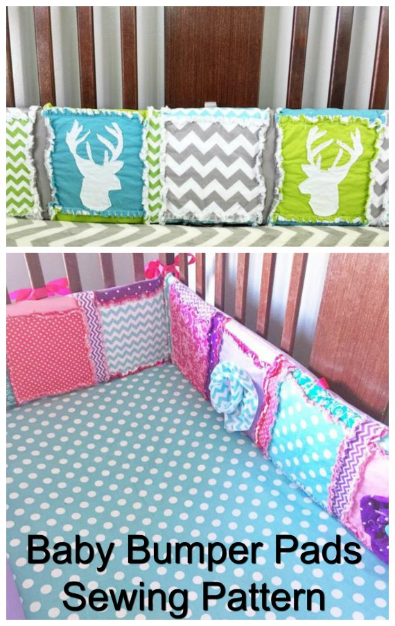 """Baby cribscan be made much softer if you make these """"Bumper pads"""" from this awesome sewing pattern. You will be able to custom make your own boy or girl baby bedding bumpers by using some of your favoritepieces of quilting cotton fabrics to add that special touch to babies nursery room."""