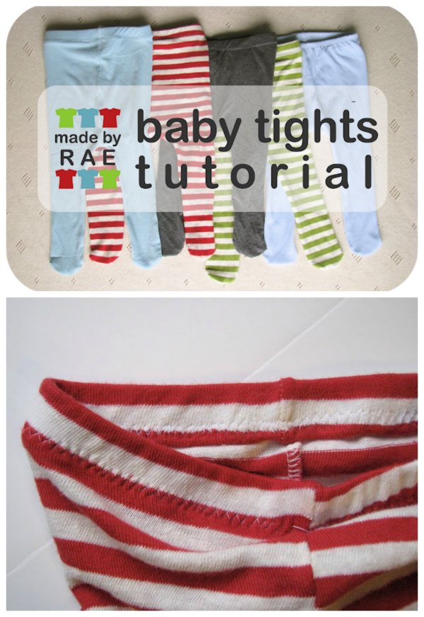 Here's a quick and simple and FREE tutorial showing you how to make a pair of tights for baby by tracing another pair. This designer has thought of everything as she says - IF you don't have a pair on hand to trace, then she has made a PDF baby tights pattern in size 3-6 months and 6-12 months. These baby tights can be sewn with either a serger or a regular sewing machine. Stretchy knit jersey or old t-shirts make the best materials, and you'll also need some 3/4″ wide elastic.