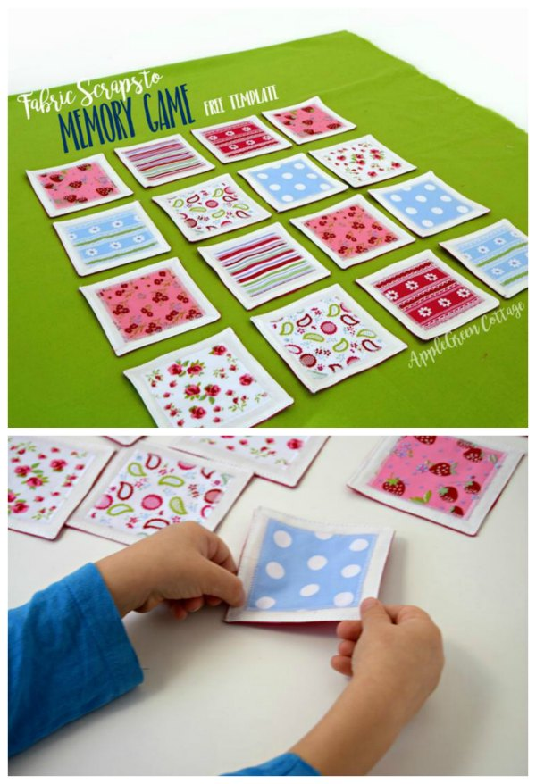 Here's a FREE pattern for a cute and fun DIY game. This totally simple project for a beginner sewer is a fabric version of the memory game /matching game. It's quick, easy and fun to make and will make a cool present for kids. It's also a great scrap buster and will be one of the most cost-effective projects you'll ever try as if you take all your fabrics from your scrap pile surely your costs will be close to zero.