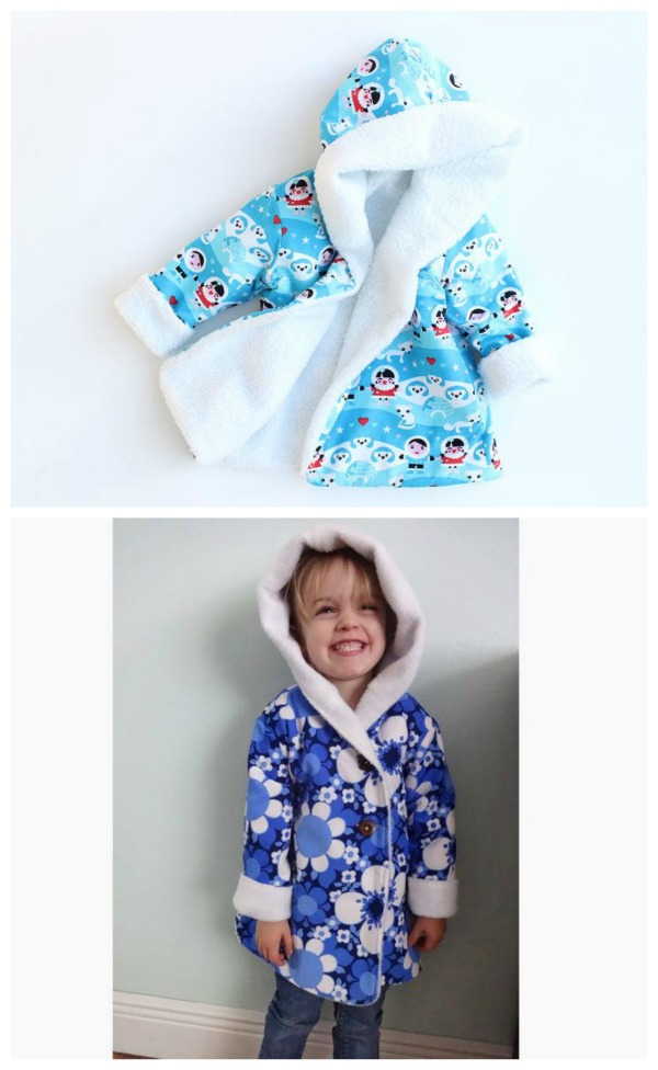 The designer of this Reversible Unisex Hooded Jacket for babies and children from birth to 10 years says that this is the easiest jacket or coat sewing pattern that you can find! It is one of her Etsy best sellers and she has sold an incredible number of items through Etsy over the years.