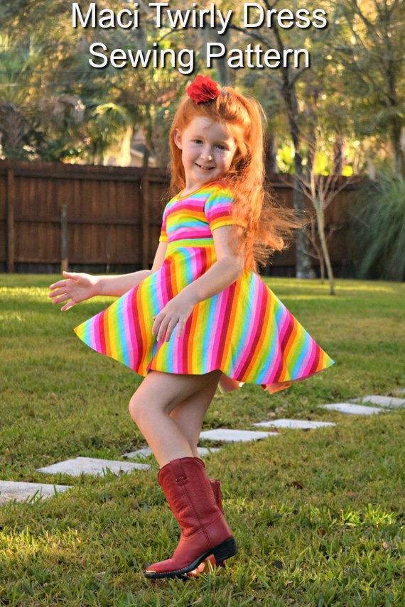 Maci Twirly Dress sewing pattern - sizes 6 months to girls 12