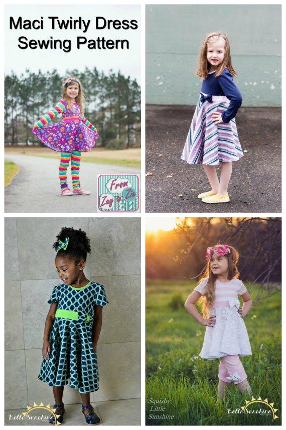 Maci Twirly Dress sewing pattern - sizes 6 months to girls 12