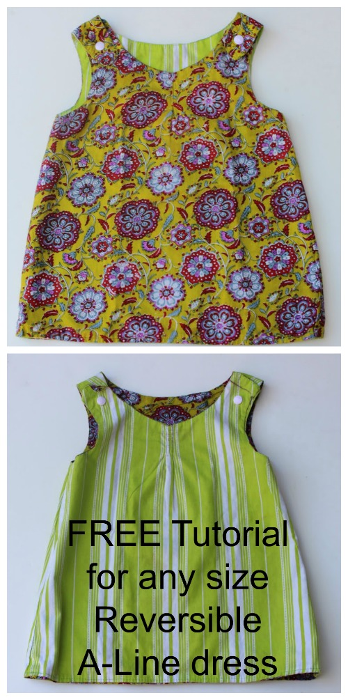 Reversible Zen Dress - FREE sewing tutorial for A-Line dress - any size