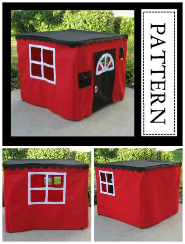 Well doesn't this project look like fun? This Card Table Playhouse Pattern is both a very easy and fast project that is suitable for a beginner sewer. This simple little playhouse will delight any child, and you will have lots of fun making it as an awesome mother/child project. This little playhouse will be loved and remembered forever.
