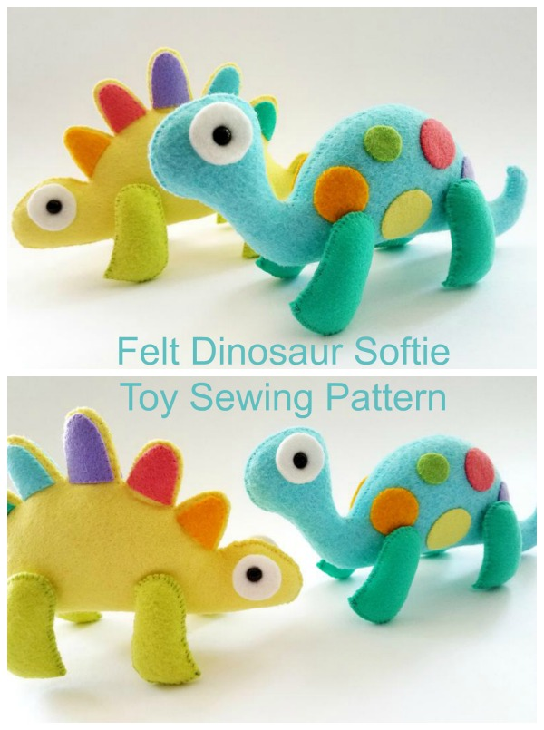 Here's a fabulous Felt Dinosaur Softie Toy digital sewing pattern. It's always a great feeling when you make a toy for a child because when you give it to them they are just so happy. These dinosaur softie toys besides making wonderful presents are both fun and simple to make!