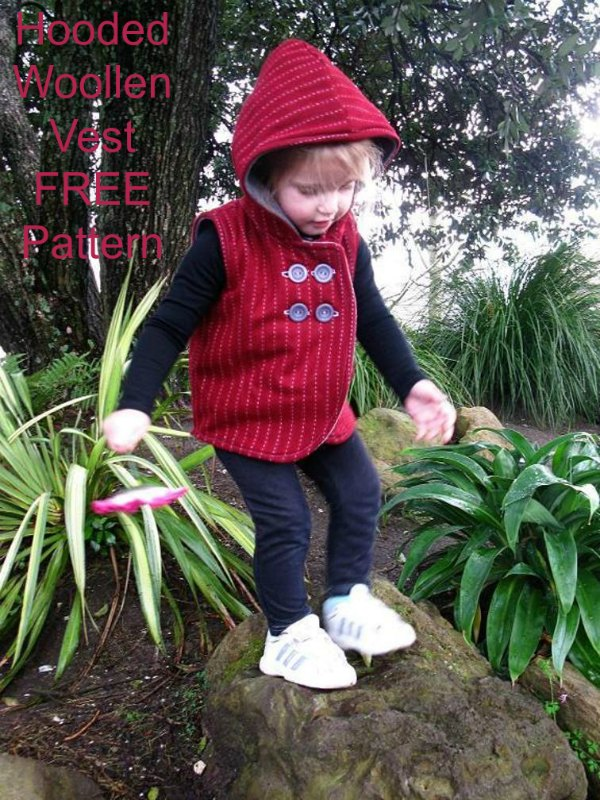 Hooded Woollen Vest FREE sewing pattern (1-6 years)
