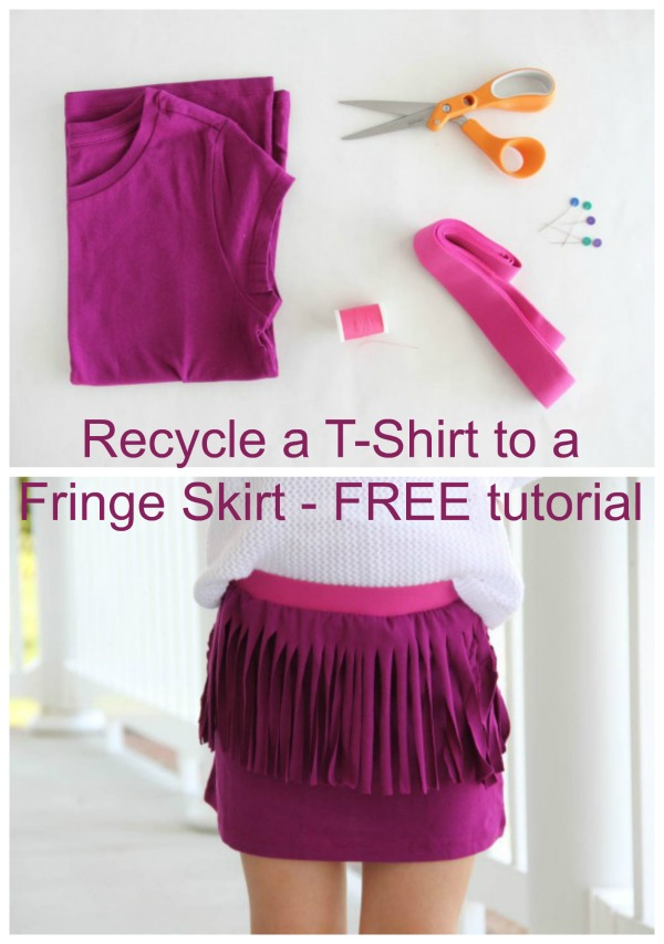 Recycling is a wonderful thing to do and with this FREE tutorial you can learn how to recycle a T-Shirt into a cute looking Fringe Skirt. So you take any T-Shirt and change it to a Fringe Skirt. You can take an old T-Shirt or a favorite T-Shirt or even go out and buy a lovely looking new T-Shirt and turn it into this trendy Fringe Skirt.