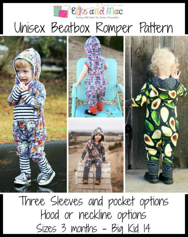 This is The Unisex Beatbox Romper Sewing Pattern. The customer reviews for this romper suit so far have been just awesome with 27 five stars and 1 four star. With those kinds of reviews, we are sure you will be extremely happy with this designers pattern. It's a must have for any trendy comfort loving kid and is sure to be a new favorite in your little one's wardrobe.