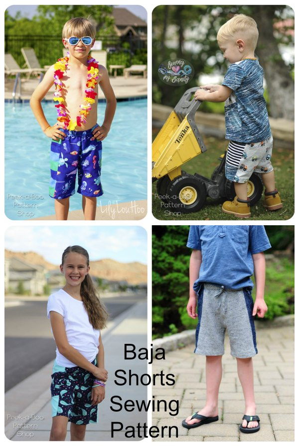 The Baja Shorts can be made from your favorite knit or woven fabrics and this digital sewing pattern includes the following options: Shorties or Knee-Length, an Optional Pocket, an Optional Faux Drawstring and an Optional Lining in sizes 2T to 12 for sports swimming.