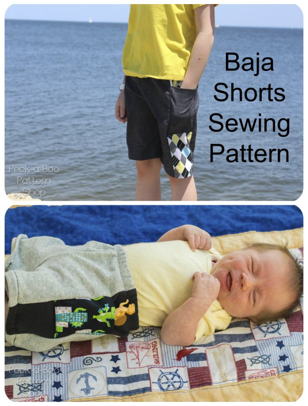 The Baja Shorts can be made from your favorite knit or woven fabrics and this digital sewing pattern includes the following options: Shorties or Knee-Length, an Optional Pocket, an Optional Faux Drawstring and and Optional Lining in sizes 2T to 12 for sports swimming.