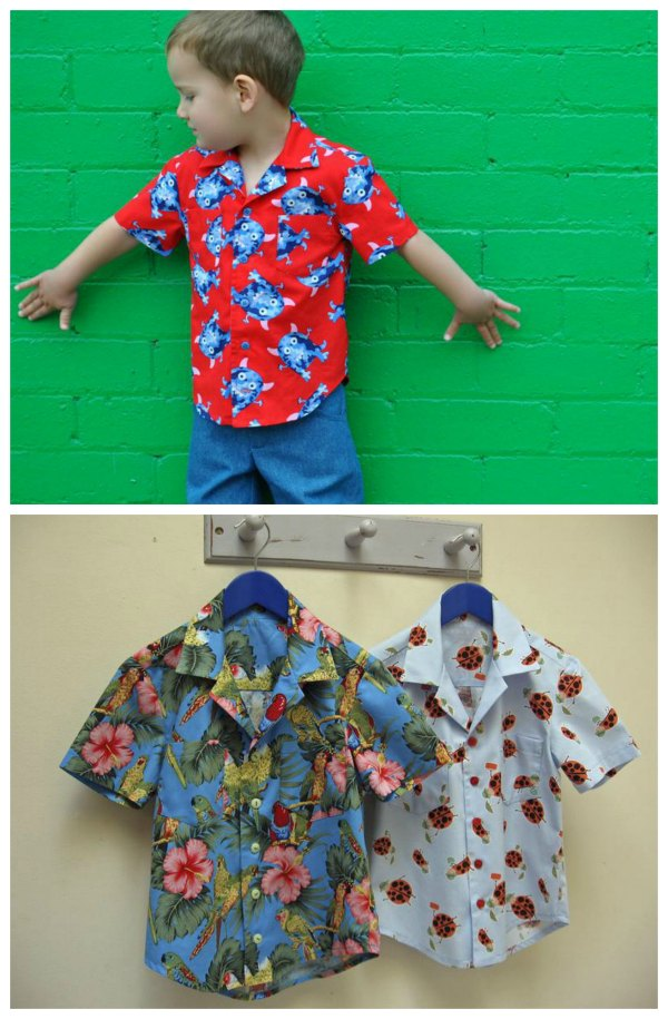 This designer makes fantastic digital patterns and tutorials for kids clothes. This is her Thomas Shirt, which is a perfect pattern to use for a Hawaiian shirt. The Thomas Shirt is a casual shirt with an open revere collar, short sleeves, a double yoke and a generous fit.