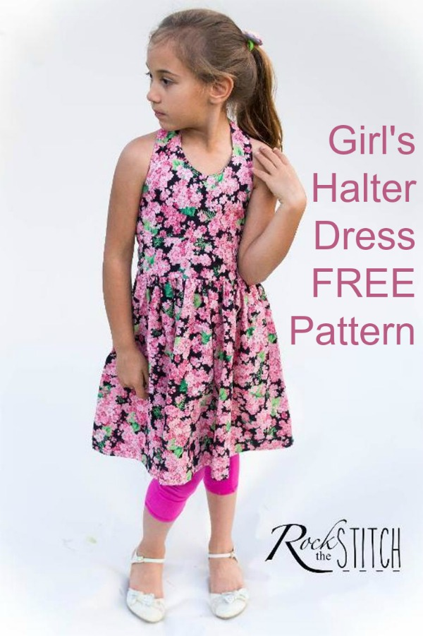 "This is a super pretty girls halter neck dress where the very talented designer has provided the pattern and tutorial FREE. This dress has a gentle gathering on the front bodice, a rounded ""V"" neckline, and gathered skirt. The halter strap closes with snaps and the back closes with a zipper."