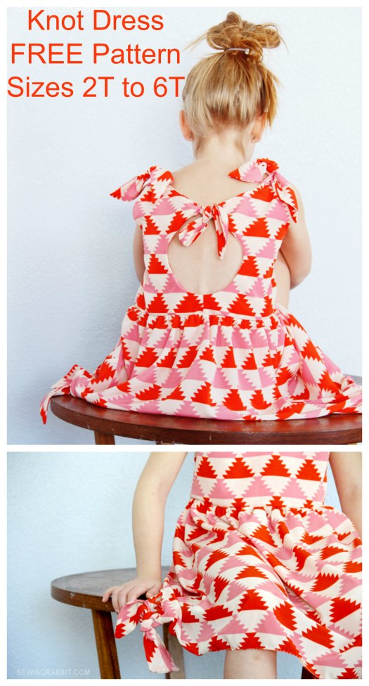 Knot Dress - FREE sewing pattern - sizes 2T to 6T