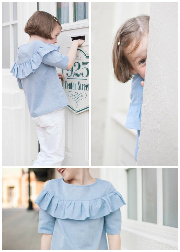 This is one of the designers most popular patterns with great feedback from her customers. It's a lovely blouse with a simple and classic look, a rounded neckline, a slight A-line silhouette for a comfortable fit, buttons in the back with loop for easy dressing, a lovely bodice ruffle and 3 sleeve options.