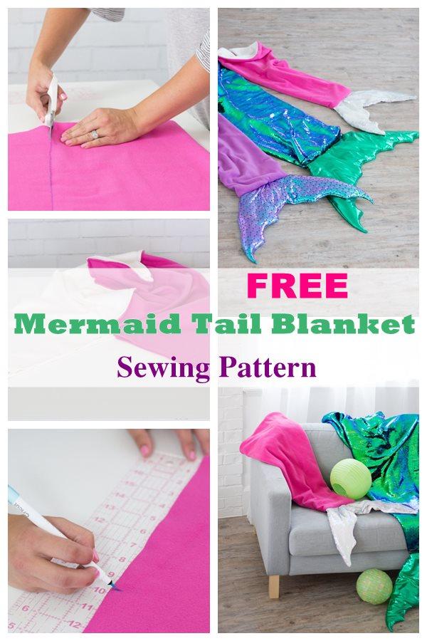Free mermaid tail blanket sewing pattern