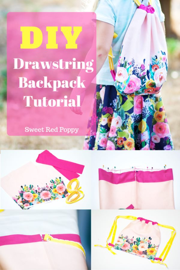 Free Kids DIY Drawstrings backpack sewing pattern