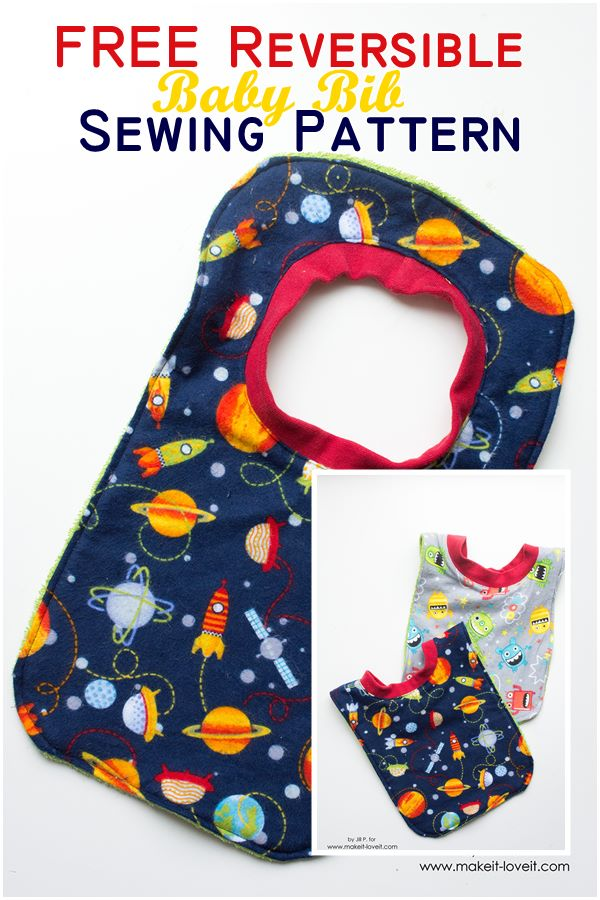 Free reversible baby bib sewing pattern