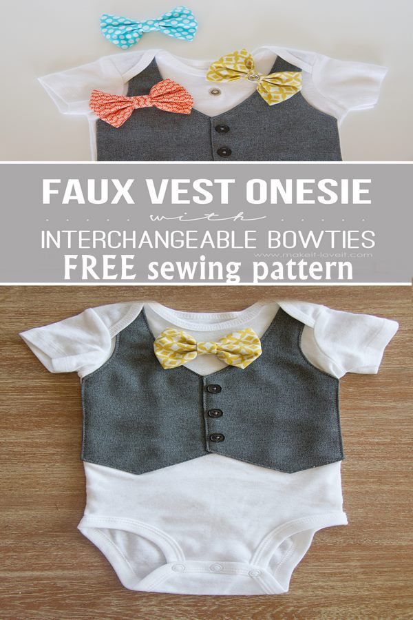 Free Faux vest onesie with interchangeable bowties sewing pattern